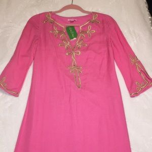 Lilly Pulitzer Pink and Gold Dress (Size XS)